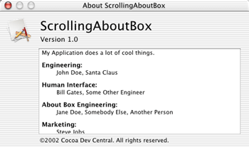 Scrolling About Box